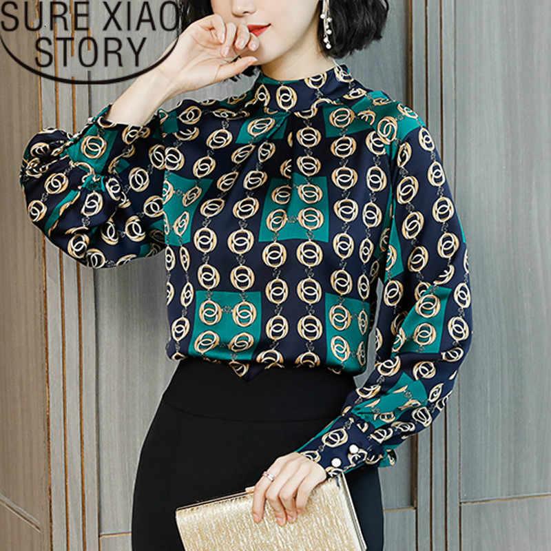 Модная женская блузка, весна 2019, Ретро стиль, стоячая женская блузка с длинным рукавом, Офисная Женская блузка, Топ 2376 50