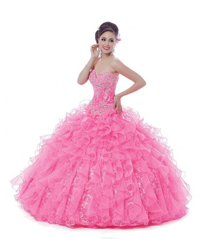 Nueva llegada De Organza con volantes dulce 16 Vestidos rosados del ...