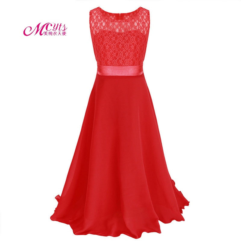 Girls Sleeveless Princess Children Lace Girl Dress For Wedding 4 6 8 10 12 14 Years Teenage Girls Trailing Party Prom Dresses hayden girls boho ethnic dress designs teenage girls national embroidered dresses flare sleeve loose fit dress for 7 to 14 years