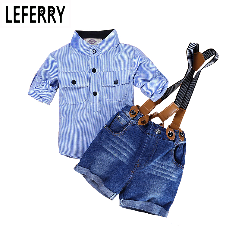 Fashion Children Boys Clothes Set Striped Shirt + Jeans Shorts Overalls Baby Boys Clothing Sets Kids Clothes Boys Set Summer