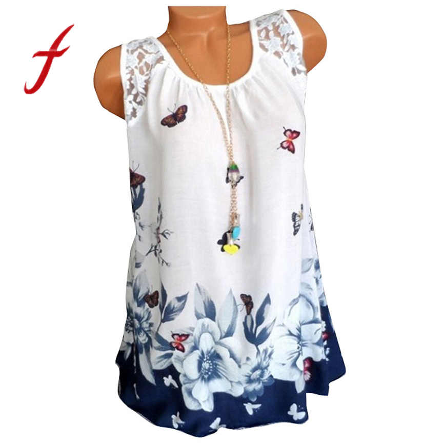2019 summer sexy sling top leisure flower butterfly top Sleeveless lace round neck print ladies top multicolor tops guess women