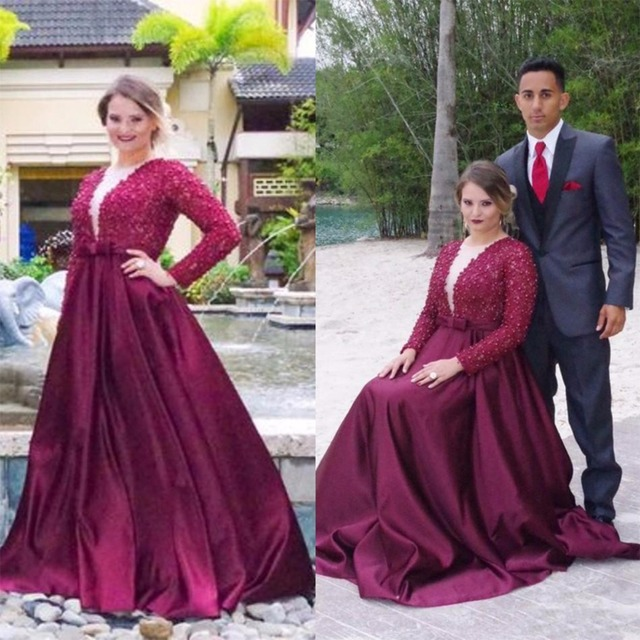 Luxury Dark Red Beaded Plus Size Prom Dresses 2017 Long Sleeve ...