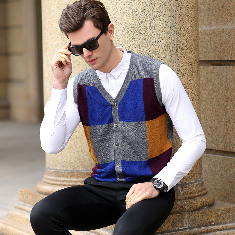 Mens Cashmere Cardigan Fashion Patchwork Colors Wool Sweater Vest Sleeveless Cardigan
