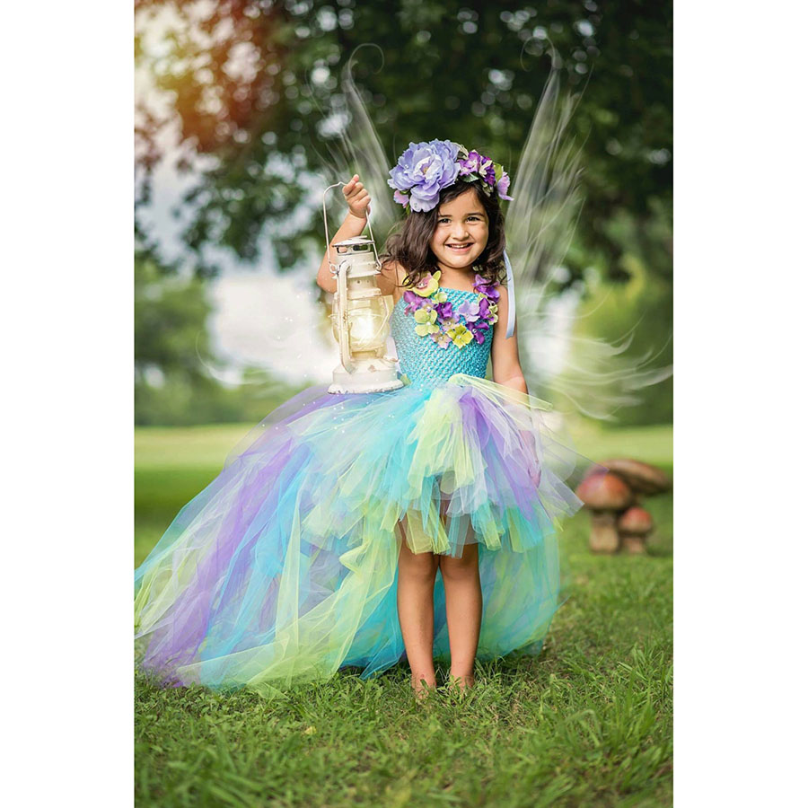 Kids Princess Multi Colored Flowers Long Tail Tutu Dress Baby Girls (11)