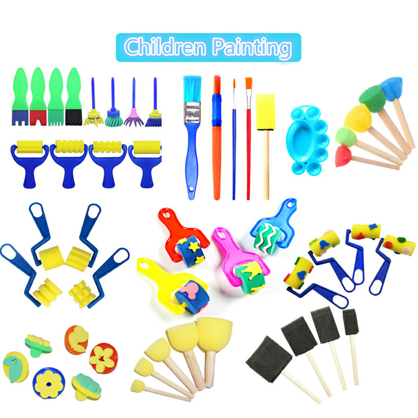 1 Set Sponge Paint Brush For Kids DIY Graffiti Sponge Brushes Funny Toys Art Supplies Seal Painting Educational Toy Drawing Toys