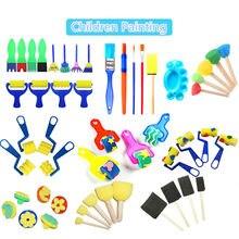 1 conjunto esponja pincel de pintura para crianças diy graffiti esponja escovas brinquedos engraçados suprimentos da arte selo pintura brinquedo educacional desenho brinquedos