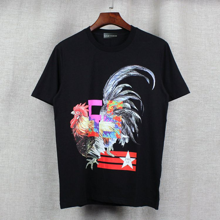 21cdc6550faaab Summer new mens Striped cock stars Cartoon printing T shirts men ...