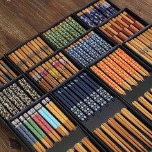 5 Pares de Palillos de Bambú De Estilo Japonés de Sushi Comida Palillos Estilo Chino Patrones de Impresión Palillos Palillos Caja de Regalo de Alimentos