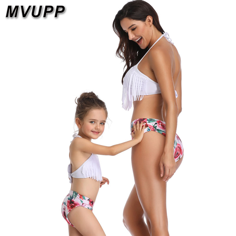 HTB16S4QaUrrK1RkSne1q6ArVVXaG mother daughter swimsuit family matching outfits swimwear mommy and me clothes mom baby bikini mama look high waist summer