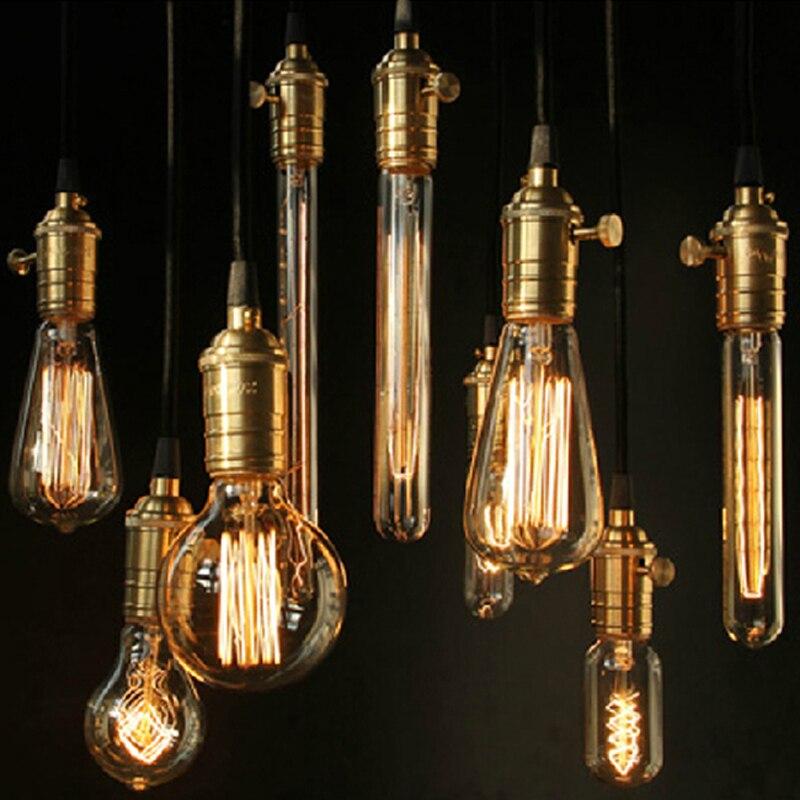 Free Shipping E27/110v/220v/60w Copper Lamp Holder Pendant Light Bulb 9