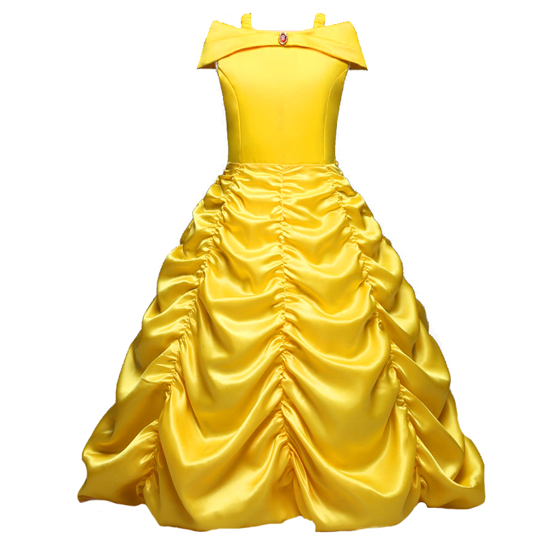 Girls Cartoon Dress Kids Shoulderless Yellow Fancy Dress Children Cosplay Beauty Beast Belle Princess Costumes Party Dress Girls nnw beauty and the beast belle cosplay princess fancy kids costumes grils yellow dresses with sleeve hight quality