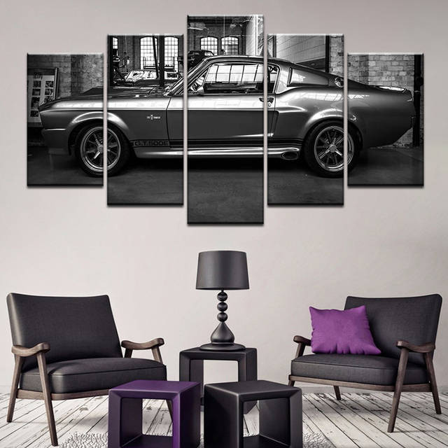 5 Panels Canvas Wall Art Poster Frames Prints Canvas Wall Picture Ford Mustang Gt500 Eleanor Set Painting Home Decor Bedroom TYG