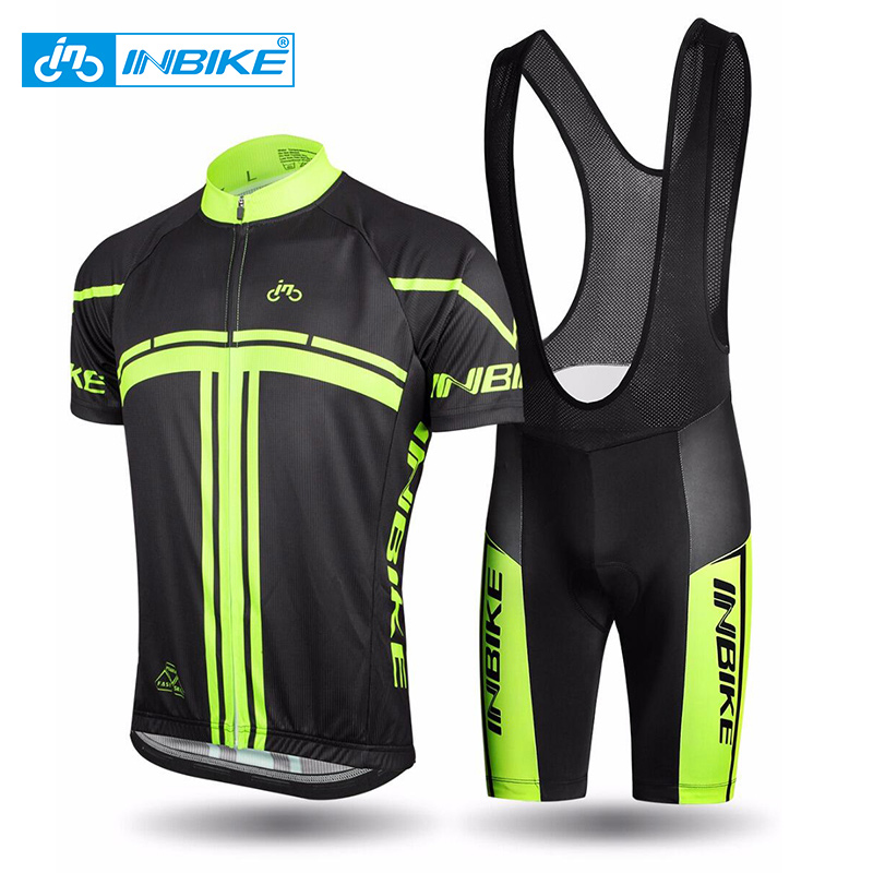 INBIKE 2018 Men's Cycling Jerseys Set for Outdoor Biking Bicycle Bib Sorts 3D Gel Padded MTB Bike Riding Short Pants ciclismo