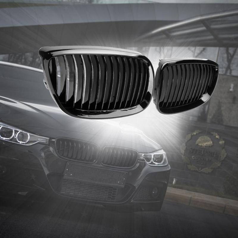 2Pcs Black Racing Grills Bumper Kidney Grilles Car Gloss Front Kidney Grill Grilles for BMW E92 E93 316i 320d 06-10 Car Parts