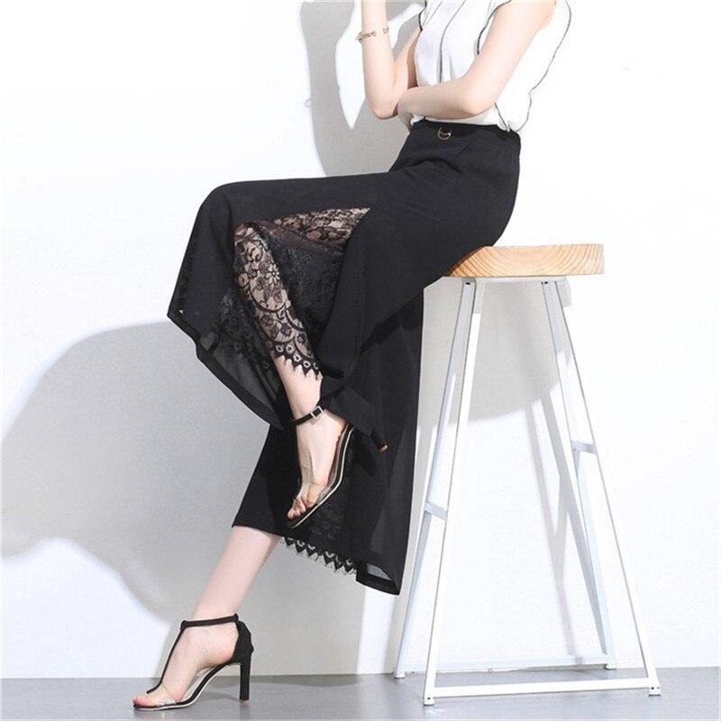 Plus Size Women   Pants   2019 Spring Summer Chiffon   Wide     Leg     Pants   Solid Black Female Nine Points   Pants   Stitching Loose High Waist