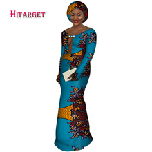 African Dresses for Woman african Wax Print Splice long sleeve sexy dress Mermaid dashiki Clothes WY3592
