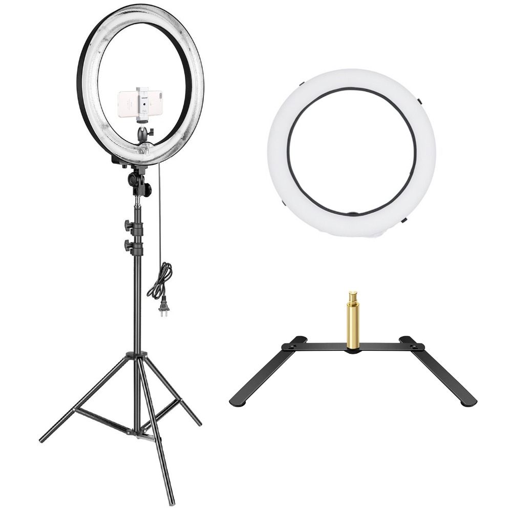 Neewer 18 inches Outer Fluorescent Ring Light Lighting Kit with Floor and Table-top Support Stand for Make up Studio Photography neewer table top mini led ring light lighting kit includes for beauty blog make up selfie studio portrait video photography