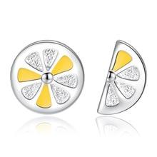 New Arrivals Fashion Asymmetric Lemon 925 Sterling Silver Ladies Stud Earrings Jewellery For Women Wholesale Drop Shipping Girls