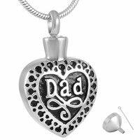 MJD8374 Dad Heart Cremation Jewelry Keepsake Memorial Pendant Urn Necklace Ashes Holder
