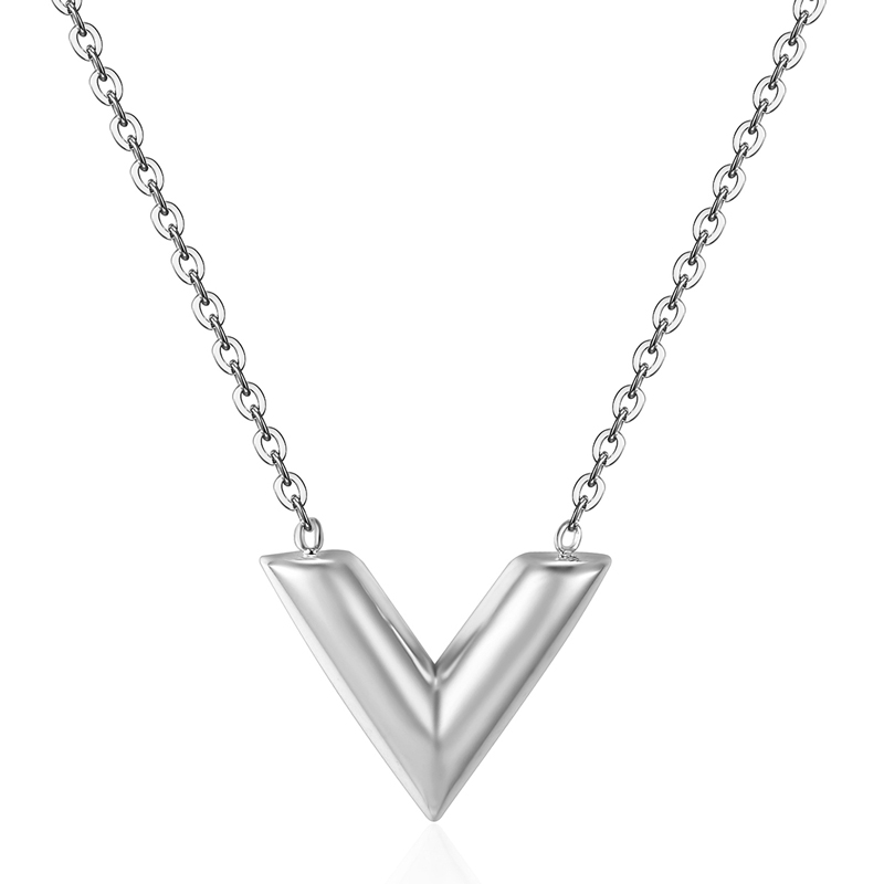 Classic Design Famous Brand V Letter Pendant Necklace For Woman Titanium Steel Woman Necklace Luxury Jewelry Female Top Quality 9