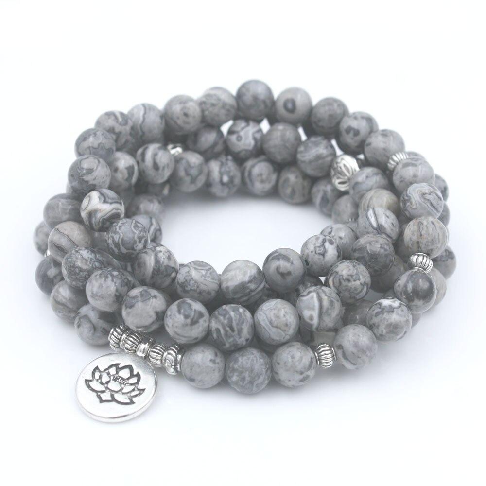 Luz Natural gris mapa piedra cuentas con Lotus OM Buda Charm pulsera Yoga joyería