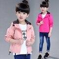 2016 осень детская одежда девушки траншею твердые длинным рукавом с капюшоном девочка кардиган пальто для девочек детские куртки outerwears