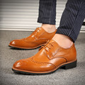 Brogue Oxford Zapatos Para Hombres Zapatos Planos Negro Cuero Artificial Zapatos de Vestir Para Hombre Marca de Lujo Sapatos Masculino