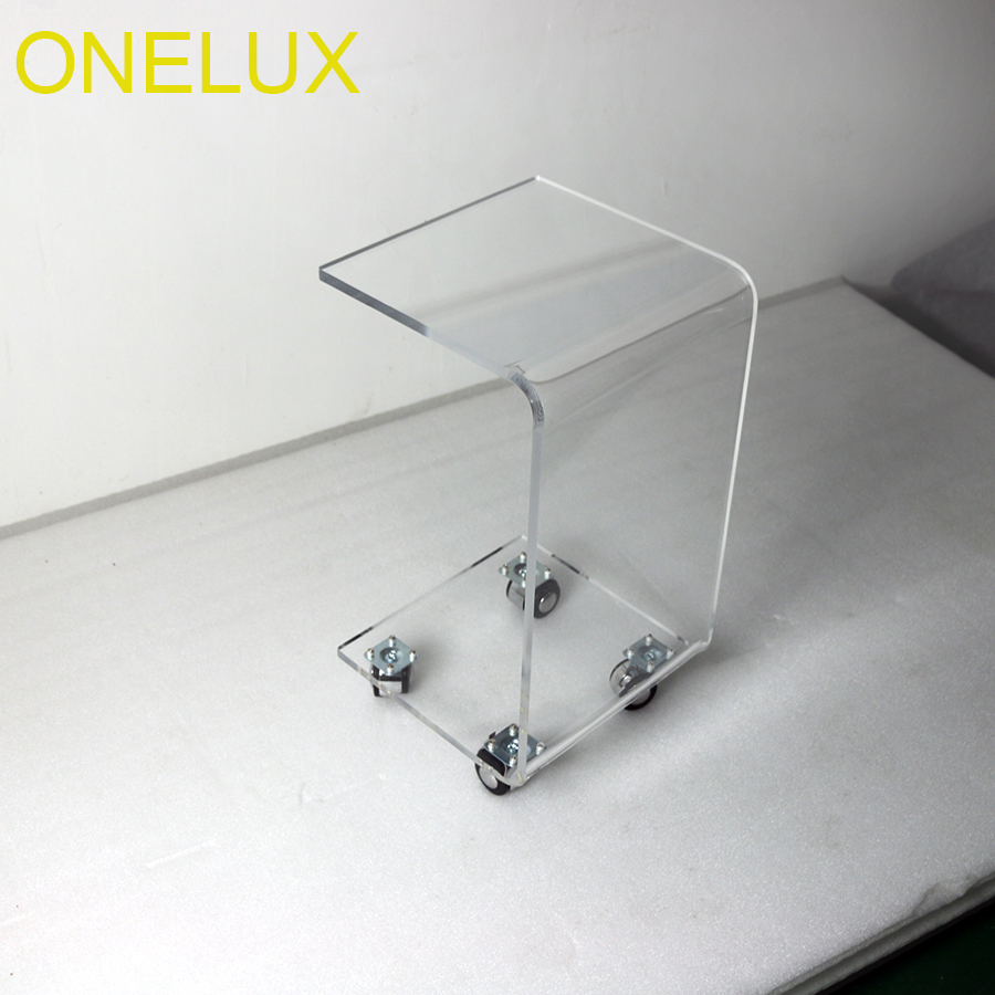 Table On Wheels Us 310 Waterfall Rolling Acrylic C Shaped Book Table Lucite Bedside Magazine Tea Tables On Wheels In Coffee Tables From Furniture On