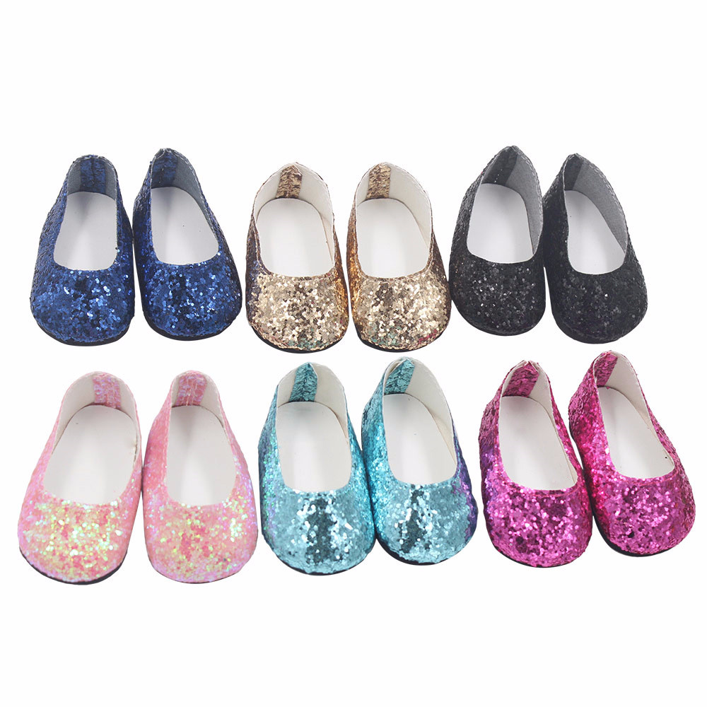 Doll Shoes Glitter Dress Shoe For 18 Inch For Our Generation American Girl Doll Little Shoes Dolls For United States Girls JA17b glitter doll shoes star dress shoe for 18 inch our generation american girl doll