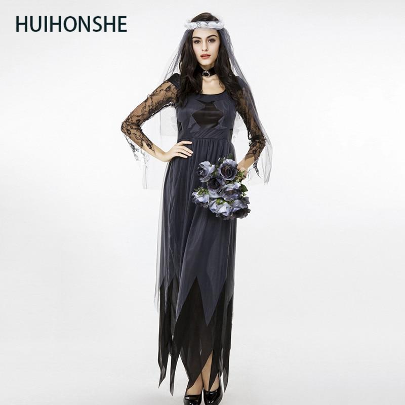 19253ae7d HUIHONSHE Halloween Cosplay flor Hada vampiro fantasma novia diablo ropa  mujer tema disfraz calabaza ...