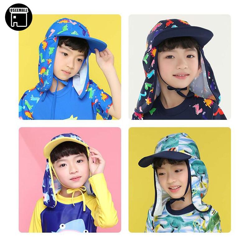 16baa80b7 USEEMALL 2-8Y Kids Sun Hat Ear Protection UV Swimming Cap Baby Kids Boys  Girls