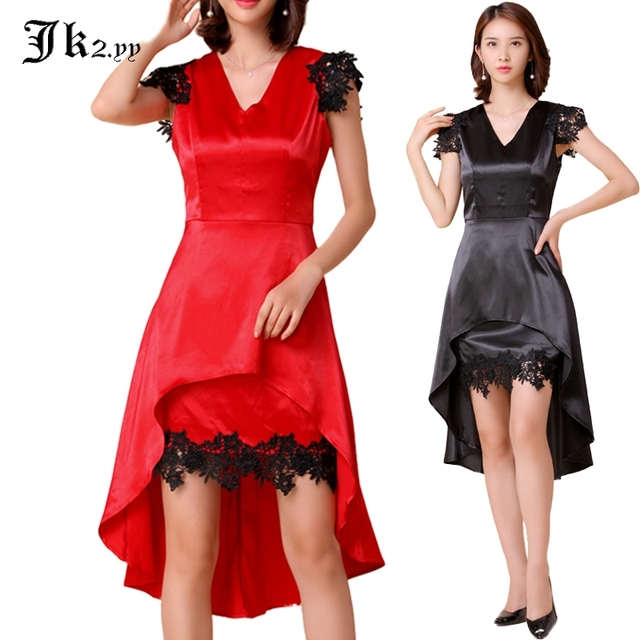 M Xl Women Lace Cutout Dinner Dresses Short Sleeve High Low Trumpet Dress Y