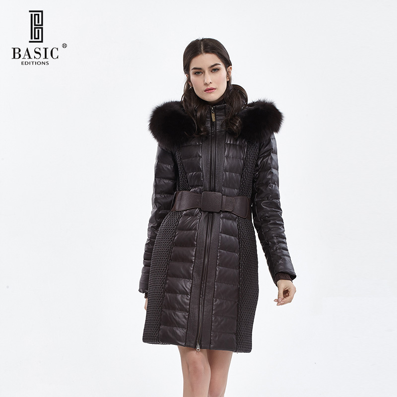 BASIC EDITIONS Womens Winter Warm Jackets and Coats White Duck Down Parka Long Down Jacket Fur Collar Parka WY1334