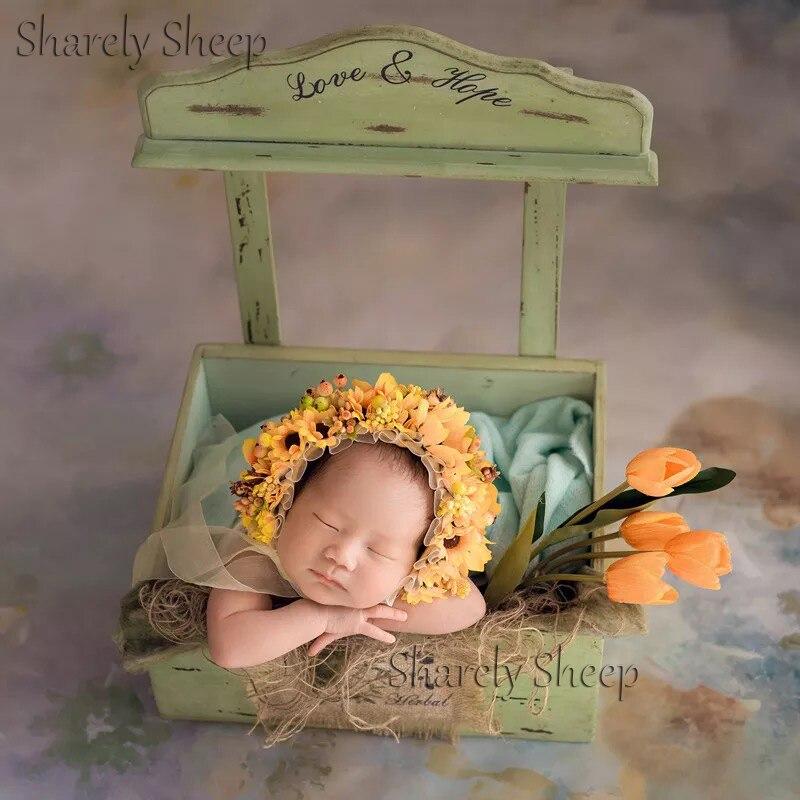 Nouveau-né photographie accessoires lit en bois bébé garçon fille Photo posant rustique berceau panier Prop fotografia accessoires faits à la main