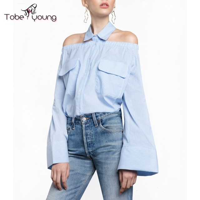 0e8f6bf7 2017 New Off Shoulder Striped Cotton Button Down Shirt Sexy Flared Long  Sleeve Blouse Women Loose Halter Top S-XXL Femininas