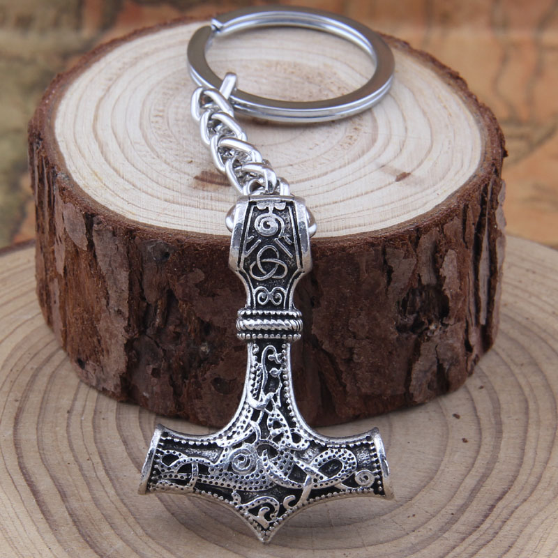 dropshipping 1pcs thor's hammer mjolnir pendant Keychain viking scandinavian norse viking Keychain Men gift цены