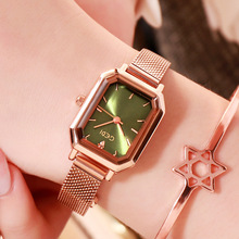 купить Women Quartz Watches Fashion Lady Rectangle Watch Rose Gold Steel Mesh Casual Waterproof Wristwatch Gift relogio feminino 2019 по цене 1107.8 рублей