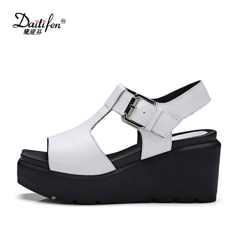 2017 Summer Genuine Leather Women Sandals Fashion Buckle T-Strap Super High Wedge Heels Platform Casual Female Shoes Hot Sale woman fashion high heels sandals women genuine leather buckle summer shoes brand new wedges casual platform sandal gold silver