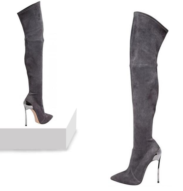 Showed Stiefel Color Color As High Stretch Winter Heel Spike Frau Größe Lange Frauen as Overknee Thigh 43 Sexy Spitzschuh ngZUWqxaq4