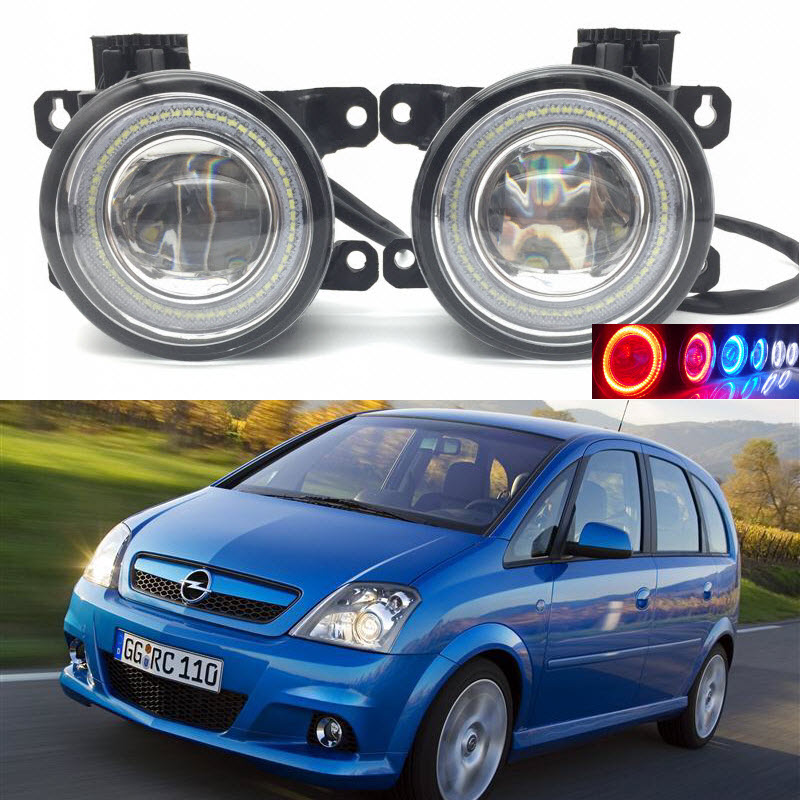 For Vauxhall Opel Meriva OPC 2003-2010 2-in-1 LED 3 Colors Angel Eyes DRL Daytime Running Lights Cut-Line Lens Fog Lights Lamp eemrke car styling for opel zafira opc 2005 2011 2 in 1 led fog light lamp drl with lens daytime running lights
