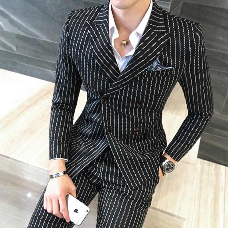Size S 5XL ( Jacket + Vest +Pants) Mens Double breasted Suit Fashion Striped Groom Wedding Dress Suit / Men Casual Business Suit