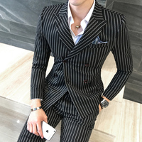 Size S 5XL ( Jacket + Vest +Pants) Mens Double breasted Suit Fashion Striped Groom Wedding Dress Suit / Men Casual Business Suit