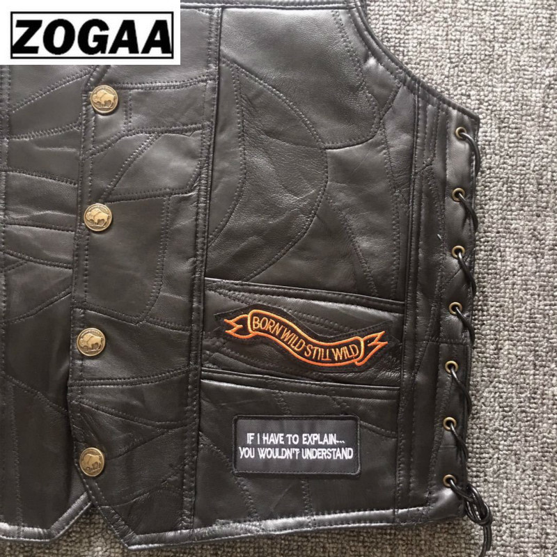 Black Genuine Leather Motorcycle Rider Vest Men Punk Retro Classic Style 14 Patches Motorcycle Jacket Men Vest Clothing