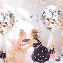 Купить с кэшбэком 12 inches Transparent Balloon Glitter Confetti Holiday Birthday party Student Dance Wedding room Rainbow decorative balloons