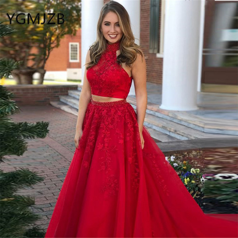 Red Two Pieces   Prom     Dresses   Long 2019 A-Line Beaded Appliques Lace Tulle Saudi Arabic Women Formal Evening Gown Party   Dress