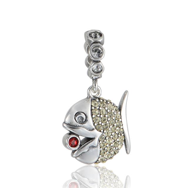 Jóias de Prata esterlina Talão Pave Cristal Oscila Bead Fit Encantos Europeus Pulseira Original de Prata Finas Jóias DIY fazendo