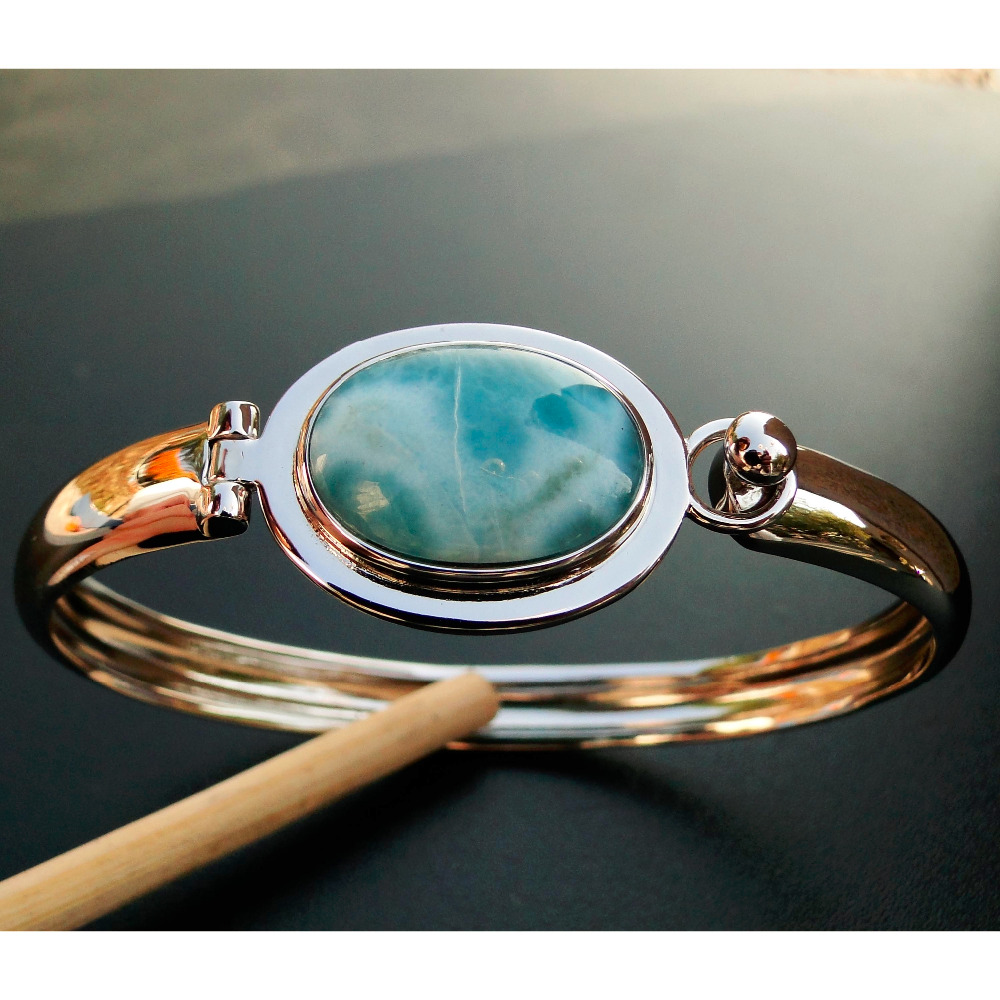 5pcs Bangles Natural Blue Larimar Stone Gemstone Bracelets Bangles for Girl/Lady/Women Anniversary Special Jewely Gifts