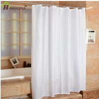 HAKOONA Polyester Cloth Bathrom White Shower Curtain With Metal Grommets Occlusion Window Hanging Drapes