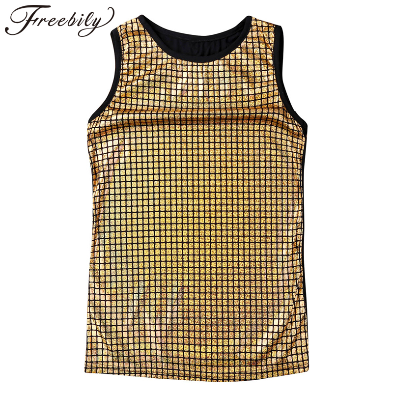 Mens Fashion Sequined Elastic Stage Costumes Vest Shiny Metallic Sleeveless Pullover Muscle Vest   Tank     Tops   Night Club Wear Shirt