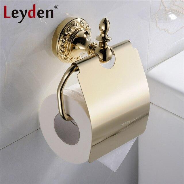 Leyden Hohe Qualität Luxus Massivem Messing Gold Toilettenpapierhalter  Blume Carving Gold Basis Toilettenpapier Hanger Badezimmer Zubehör